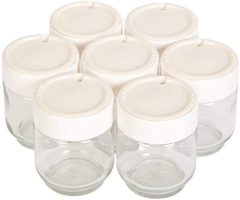 Moulinex A14A03 Yaourtières 7 Pots Verre Couvercle Blanc Yogurta transparent